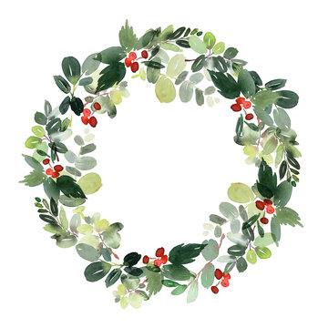 Watercolor christmas wreath with floral elements.
