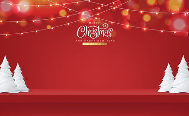 Fototapete - Christmas red shelf on the wall for display and Glowing lights. Merry Christmas text Calligraphic Lettering Vector illustration.