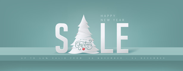 Fototapete - Christmas sale banner background.Merry Christmas text Calligraphic Lettering Vector illustration.