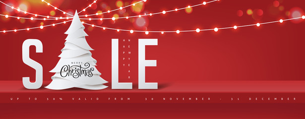 Wall Mural - Christmas sale banner background red shelf on the wall for display and Glowing lights.Merry Christmas text Calligraphic Lettering Vector illustration.