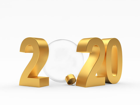 Golden number 2020 New Year and glass transparent Christmas ball isolated on a white. 3D illustration