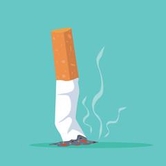 Cigarette butt Flat illustration vector