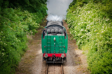 Fast approaching vintage steam locomotive with its coal tender seen head first. Large amount of steam can be seen flowing from the loco as it approaches a bridge.