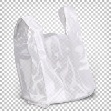 Plastic bag of white transparent color standing on the surface. Vector 3d realistic illustration isolated on white background.