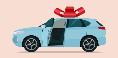 New CUV car as a gift isolated.Vector flat style illustration.