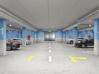 Wall Mural - Well-illuminated underground parking with cars, 3d illustration