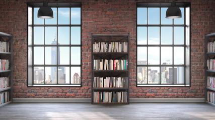 Bookshelves,Loft style interior, concrete floor with two big windows