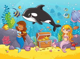 Cute orca whale swims. Vector illustration on the marine theme