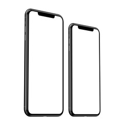 Brand new iPhone 11 Pro Max and iPhone 11 Pro in grey front view - template with blank screen for application presentation