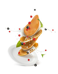 vector illustration of a pancake with cream and berries on a plate    без тени