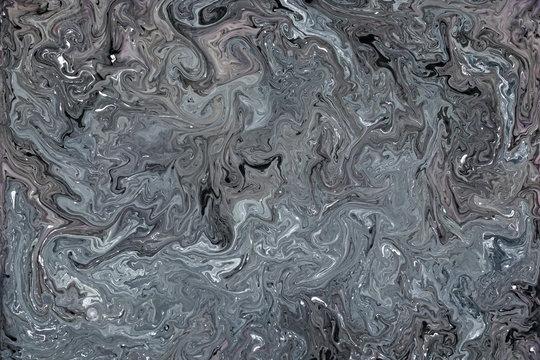 Dark Gray Fluid Liquid Acrylic Paint Marbled Texture