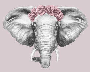 Portrait of Elephant with floral head wreath. Hand-drawn illustration.Vector isolated elements.