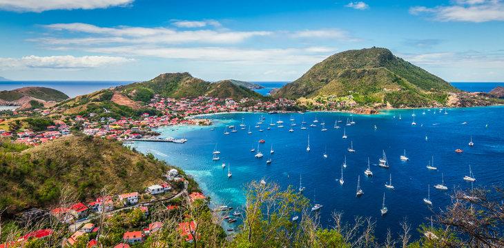 Panoramic landscape view of Terre-de-Haut Island, Guadeloupe, Les Saintes.