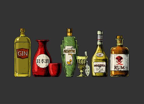 bottles of alcohol. Distilled beverage