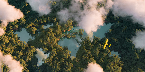 Sustainable habitat world concept. Distant aerial view of a dense rainforest vegetation with lakes in a shape of world continents, clouds and one small yellow airplane. 3d rendering.