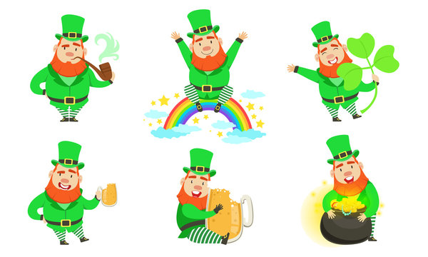 Smiling Leprechauns Set, St Patricks Day Cartoon Character in Different Situations Vector Illustration
