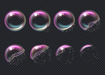 Obraz Burst bubbles. Key frames of transparent deformed bubbles aqua sphere shiny liquid drops vector realistic. Air transparent soap bubble, multicolored process animation illustration - fototapety do salonu