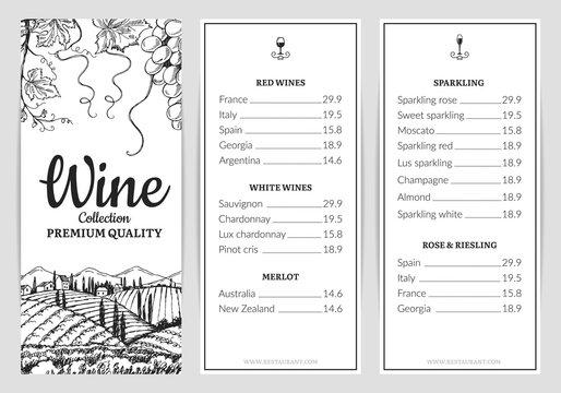 Wine menu. Wine card template. Vector grape sketch, drink menu template. Illustration wine menu restaurant, vintage sketch drawn poster