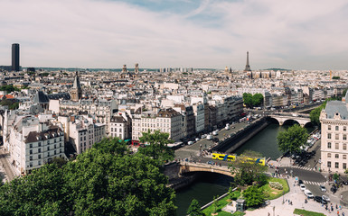 Fototapete - Skyline of Paris with Eiffel Tower and Seine river in Paris, France