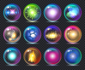 Magic balls. Magician nature effect in crystal transparent globe spheres with flame frozy flashes vector realistic template. Magic realistic decoration ball, energy glass sphere illustration