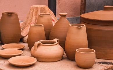 Ceramic raw pottery, clay, ceramics art concept . Ancient traditional spanish pottery.
