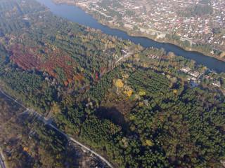 Printed kitchen splashbacks Khaki Aerial view of the Saburb landscape (drone image). Kiev Region,Ukraine