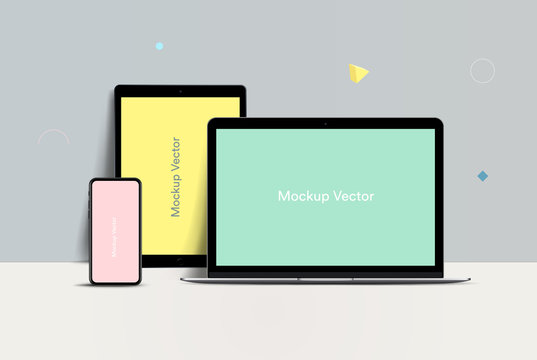 mockup Laptop, Tablet and Smartphone vector illustration