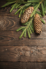 fir branches and cone on dark old wooden background