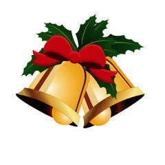 Christmas Bells with Mistletoe and Bow - Vector Image