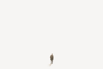 lonely man walks towards infinity in the fog, concept of loneliness