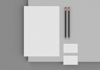 Base stationery mockup template for branding identity on gray background for graphic designers presentations and portfolios. 3D rendering.