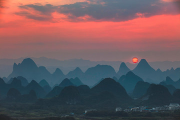 Canvas Prints Green blue Sunset landscape of yangshuo in guilin,china
