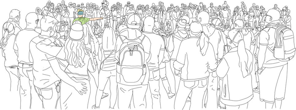 Hand drawn illustration. A crowd of people gather in a circle to see a street performer.