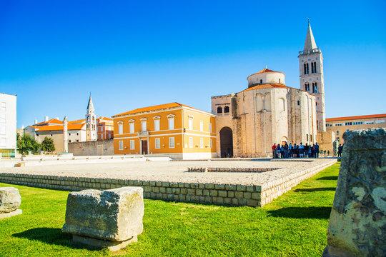 Croatia, city of Zadar, ancient Saint Donatus church on the old Roman forum ruins, urban landscape