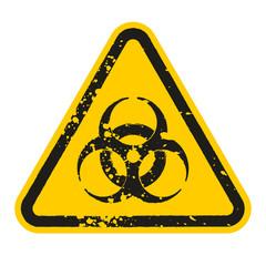 Grunge Danger biohazard sign isolated on white background. Vector illustration