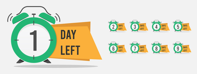 set of number days left countdown vector illustration template, can be use for promotion, sale, landing page, template, ui, web, mobile app, poster, banner, flyer Wall mural