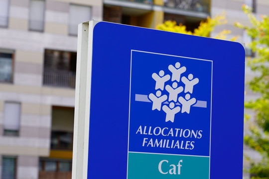 Caisse allocations familiales logo sign means Family Allowances Fund office