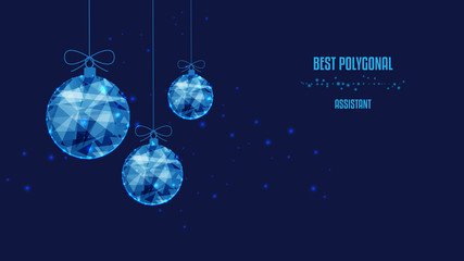 New Year polygonal balls. Background of beautiful dark blue night sky. Low poly.