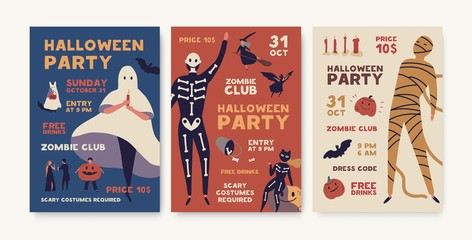 Halloween party poster templates pack. Holiday entertainment event, masquerade creepy invitation. Helloween advertising brochure, flyer, design layout. Spooky mummy, skeleton costumes illustration.