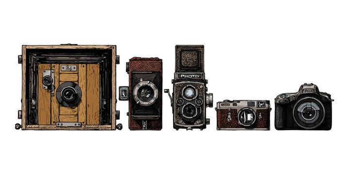 photo cameras evolution set