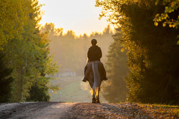 Woman horseback riding in sunset