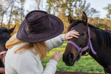 Woman with cowboy hat is stroking her young horse at farm