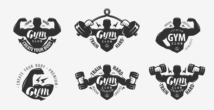 Gym set of logos and labels. Sport, fitness concept. Vector illustration