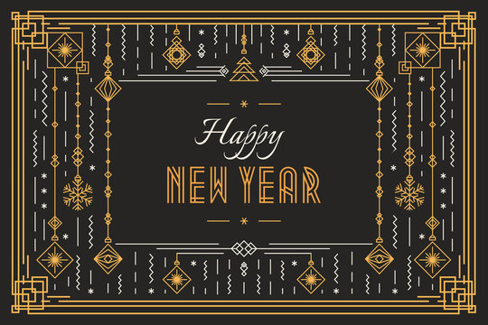 Vector happy new year celebration banner concept trendy typography and holidays toys art deco style for greeting card, poster, christmas invitation, party, flyer. 10 eps