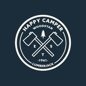 Lumberjack circular logo template. Vector illustration.