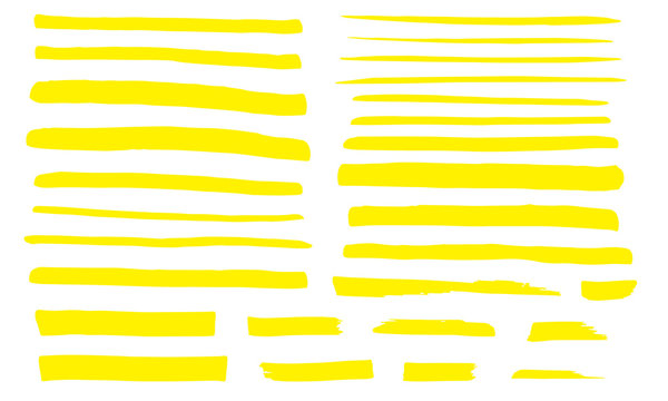 Marker yellow line set. Highlight color stroke. Abstract hand drawn underline.