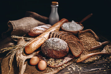 Canvas Prints Bread Whole wheat bread and home cooking ingredients that are healthy and nutritious.