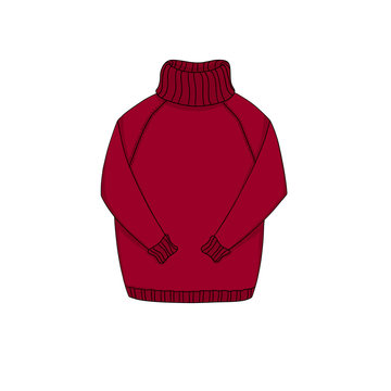 Cozy knitted  cartoon red sweater. Warm clothes: pullover or jumper for cold winter and autumn weather. Object isolated on white background. Element for design.