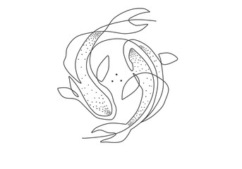 Beautiful one line doted art fishes