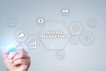 Digital marketing technology concept. Internet. Online. Search Engine Optimisation. SEO. SMM. Video Advertising. Wall mural